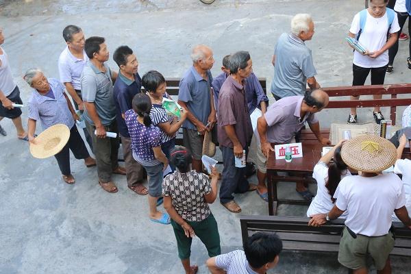 图二:村民排队等候测量血压
