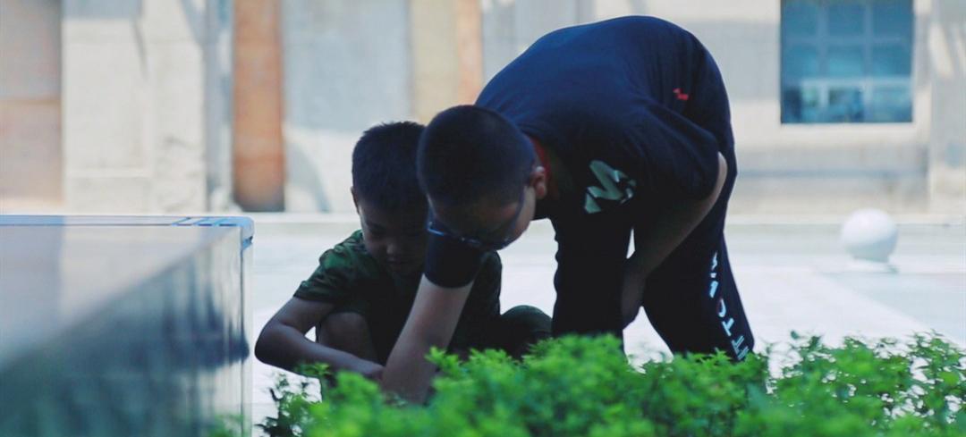大华·1935园区内两个小学生正在石板缝间找烟头。来源:新华网