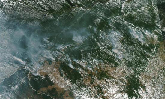 8月22日消息,巴西国家空间研究所(INPE)的最新数据显示,2019年,亚马逊雨林的火灾数字已创下纪录。从NASA地球观测站拍摄到的巴西亚马逊森林大火卫星图像。