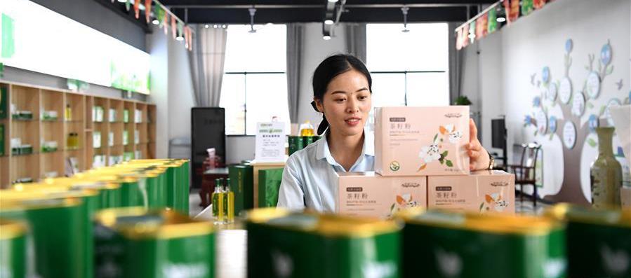 8月25日,工作人员在河南省光山县一家油茶加工企业展厅内整理产品。